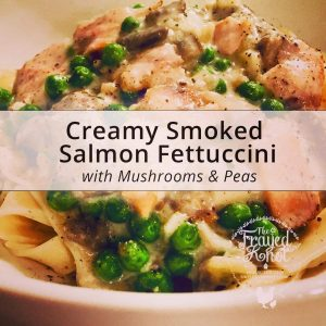 Creamy Smoked Salmon Fettuccini with Mushrooms & Peas