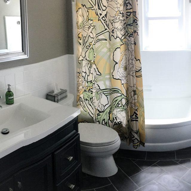 Herringbone Pattern Linoleum Tile Floor - TheFrayedKot.com